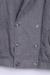 Womens 4XL Jacket Check Blazer Dark Grey Double Breasted Pockets - RetrospectClothes
