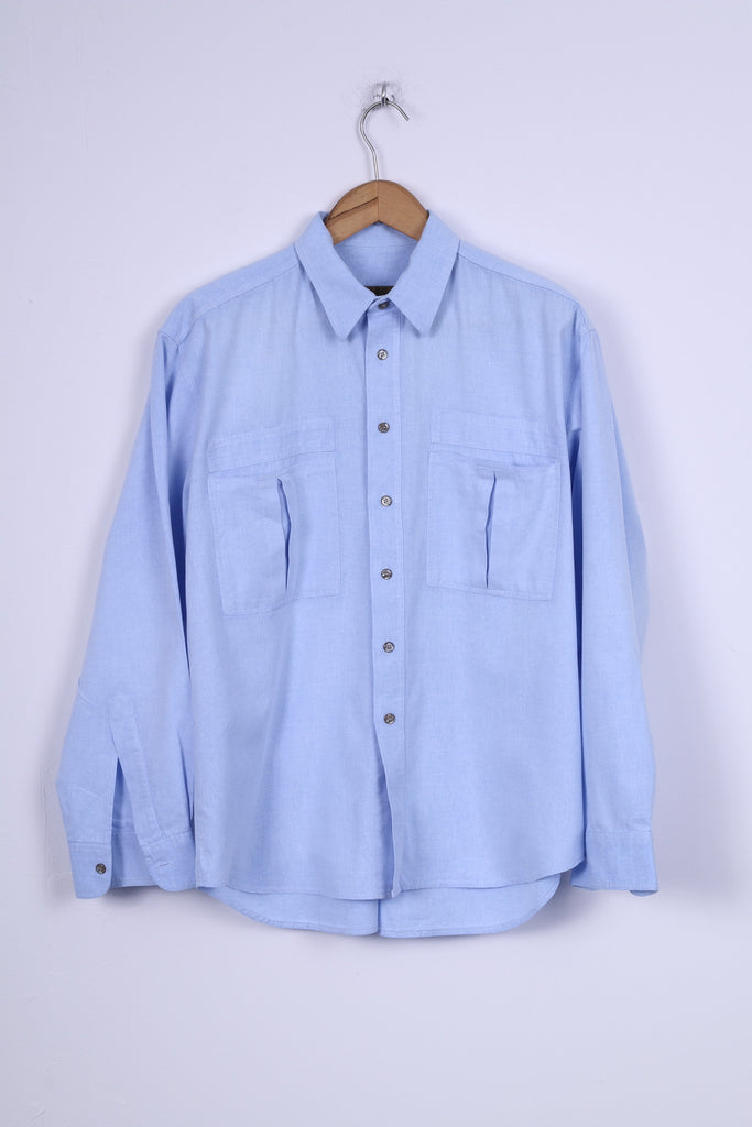 Jean Juubat Mens 42 M Casual Shirt Cotton Blue Long Sleeve Two Pockets