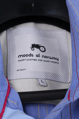 Moods Of Norway Mens L (M) Casual Shirt Blue Check Cotton Long Sleeve Top