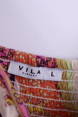 VILA Womens L Dress Summer Floral Viscose Multi Colors