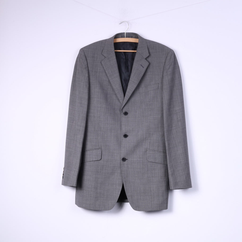 Jaeger Mens 40L (S) Blazer Grey Single Breasted Top Shoulder Pads 100% Wool Jacket