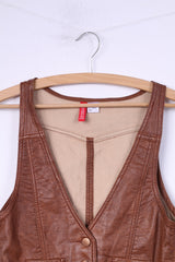 Divided by H&M Womens 36 S Vest Brown Imitation Leather  Single Breasted
