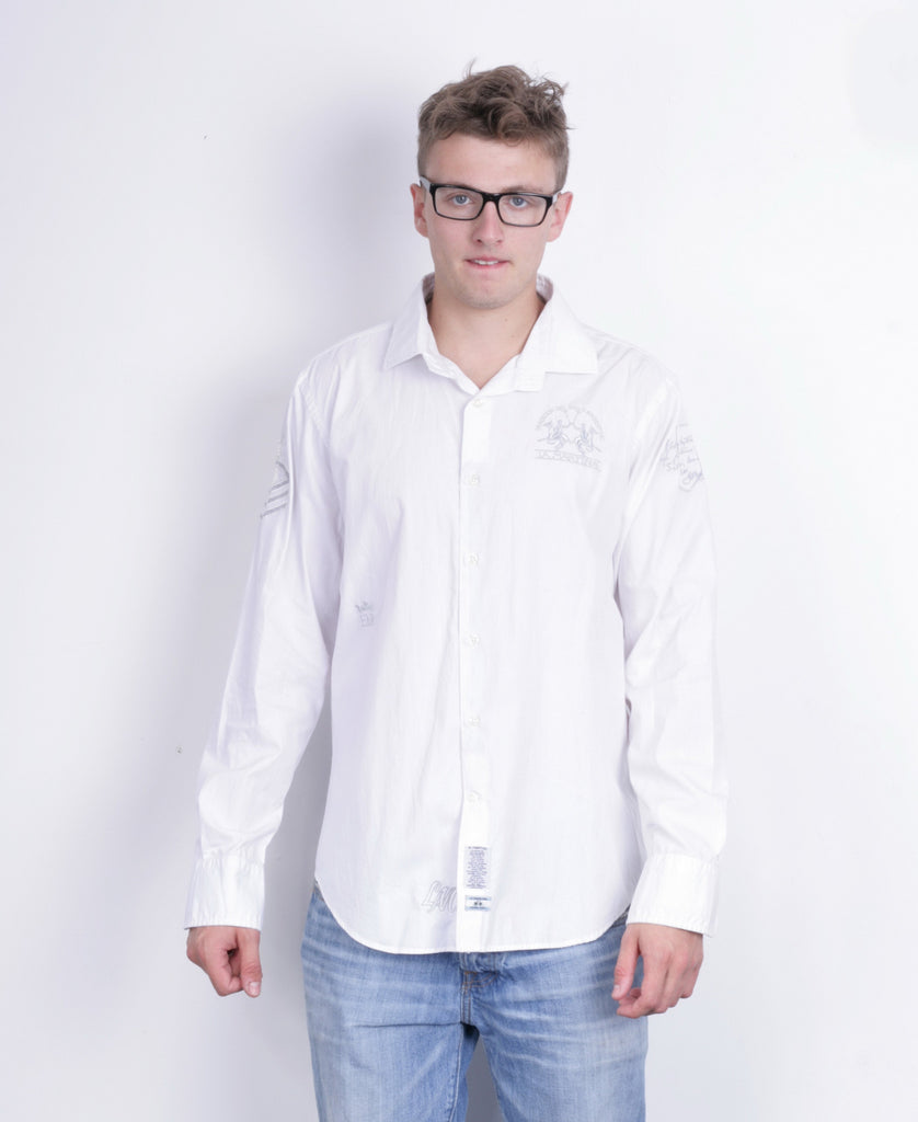 La Martina Mens XXL Casual Shirt White Heritage Cotton - RetrospectClothes