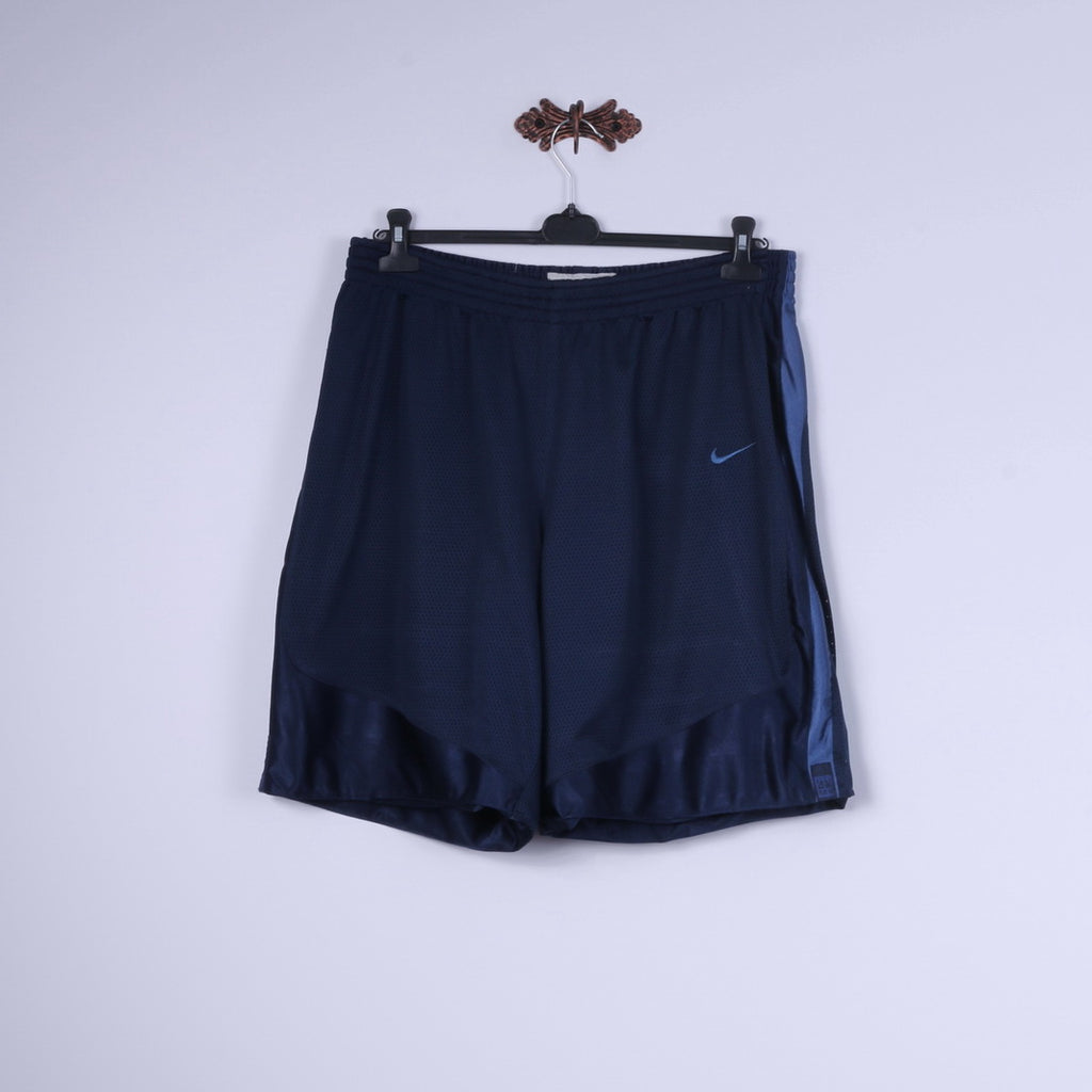 Nike Mens XL Shorts Navy Shiny Mesh Basketball Play On Double Sided Bottoms