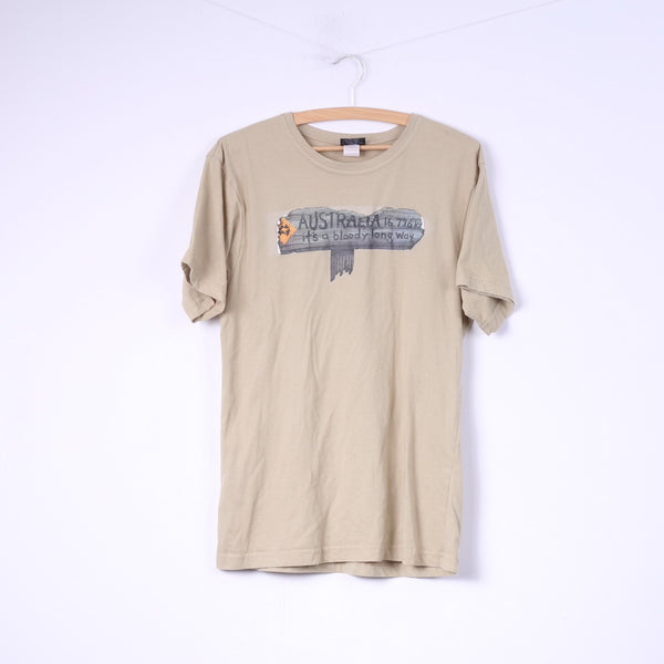 Samsousan Mens M T- Shirt Graphic Australia Way Beige Cotton Top