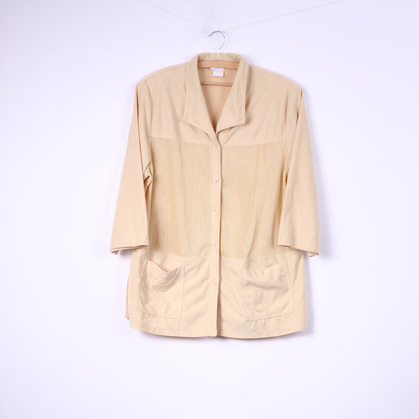 C.h.i.c.c. Womens 2XL Blouse Buttons Front Vintage Yellow Pocket Top