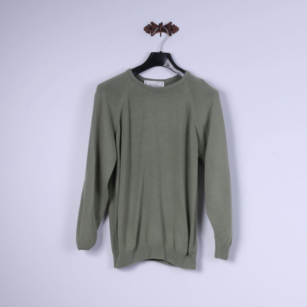 "Hodgson Of Scotland Mens 38"" S Jumper Green Pure Wool Crew Neck Classic Sweater"