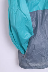 Active Mens 2XL Light Nylon Jacket Hidden Hood Grey Green Sport Top - RetrospectClothes