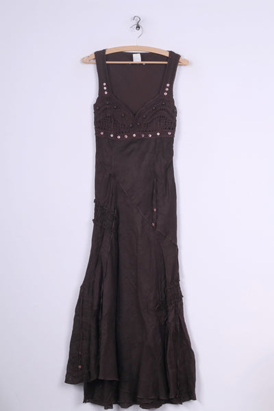 Didier Parakian Womens 8 36 S Long Dress Brown Linen Summer Italy Pretty