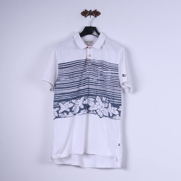 Nautica Jeans Co. Mens L Polo Shirt White Cotton Blue Summer Print Detailed Buttons