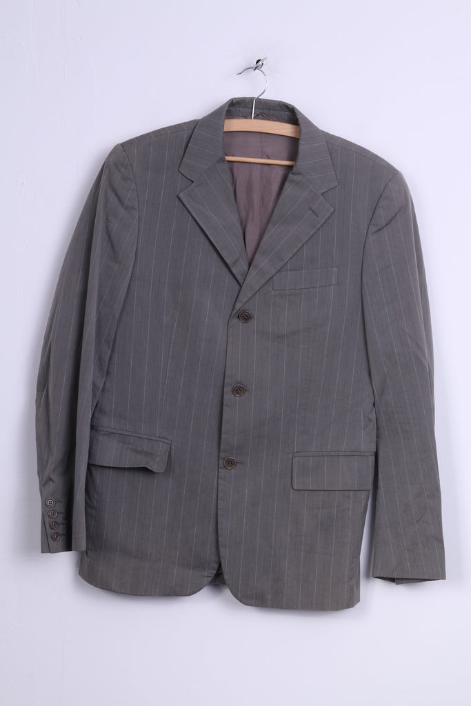 United Colors Of Benetton Mens 48 S Blazer Light Grey Striped Cotton Single Breasted Jacket