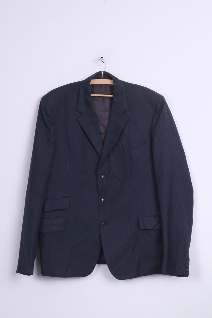 dc for John Collier Mens 54 XL Blazer Navy Striped Wool Single Breasted Vintage Jacket