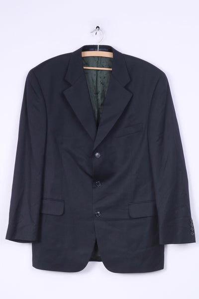 Stylemaster Mens 52 XL Blazer Single Breasted Striped Navy Wool