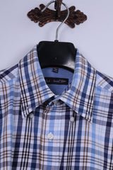 Paul R. Smith Mens M Casual Shirt Blue Checked 100% Cotton Long Sleeve Regular Fit