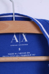 Armani Exchange Mens S Shirt Blue Long Sleeve Stretch Cotton Crew Neck