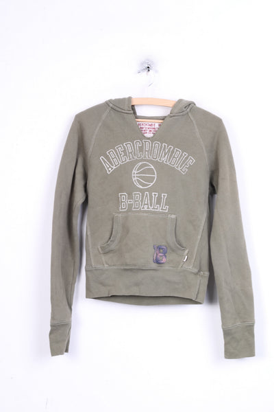 Abercrombie 1892 Womens M Sweatshirt Jumper Hood Khaki Cotton
