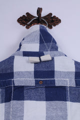 Superdry Mens S Casual Shirt Blue Cotton Western Full Zippered Check Mark Top