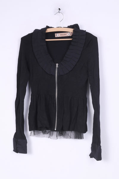 Twelve by Twelve Womens XS Jumper Full Zipper Elegant Cardigan Tulle Black