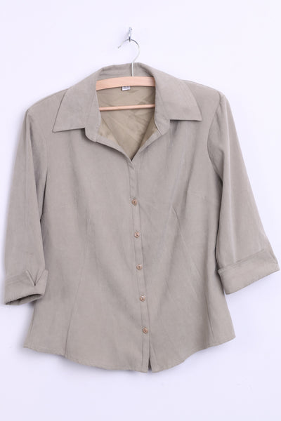 Womens 42 L/XL Suede Blouse Shirt Light Khaki 3/4 Sleeves Top - RetrospectClothes