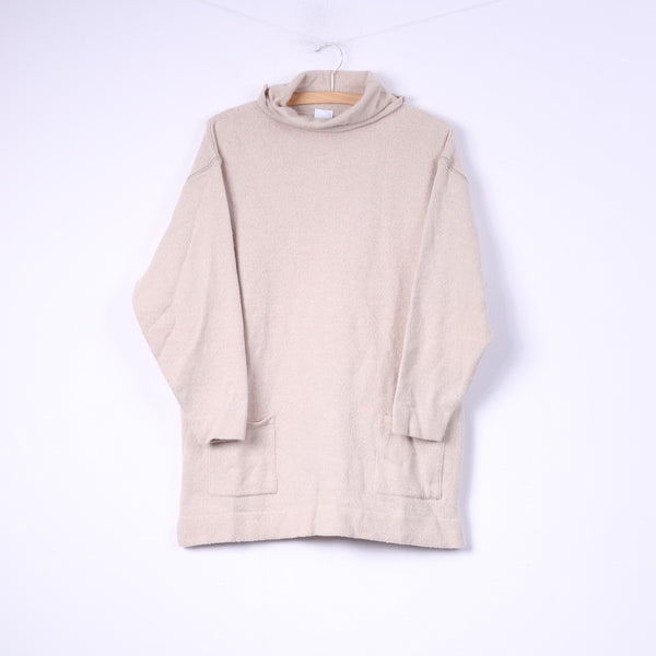 Ulla Popken Womens XL Jumper Turtle Neck Beige Merino Wool Acrylic Pocket Top
