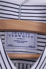 Charles Tyrwhitt Mens 41 16 M Casual Shirt White Cotton Striped Long Sleeve