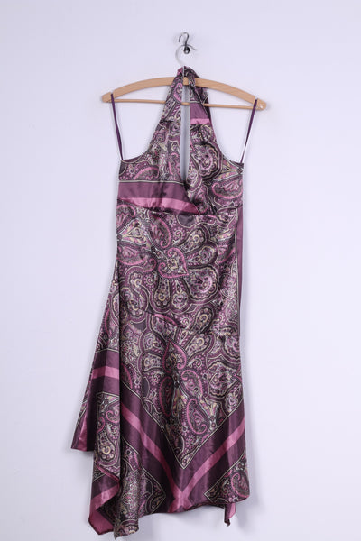Camaieu Womens 10 38 Midi Dress Purple Soft Multi Printed Summer