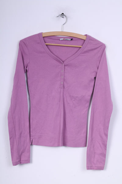 Gas Jeans Womens S Shirt Lilac Long Sleeve V Neck Cotton Popper Button