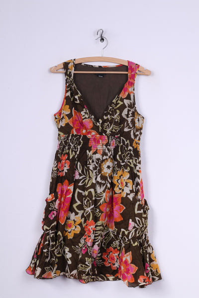 Spense Womens 8 S Midi Dress Brown Cotton Floral Print Summer