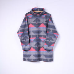 C&A Womens 38/40 M Fleece Top Sweatshirt Grey/Pink Top Sportswear