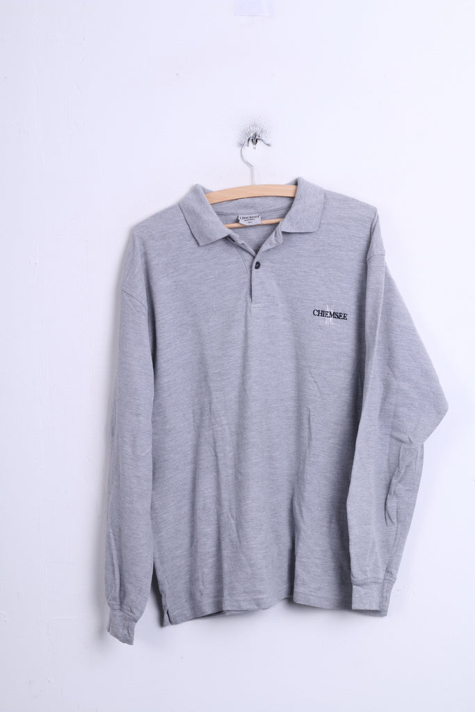 CHIEMSSEE Natural Mens XL Polo Shirt Grey Cotton Long Sleeve - RetrospectClothes