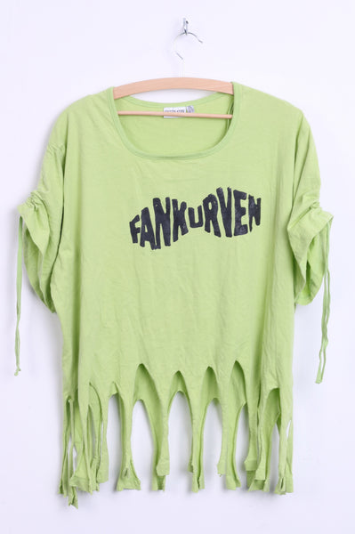 Queen -Size Womens 2XL 48/50 Shirt Neo Green Fringe Fankurven Cotton Festival Vintage 90s - RetrospectClothes