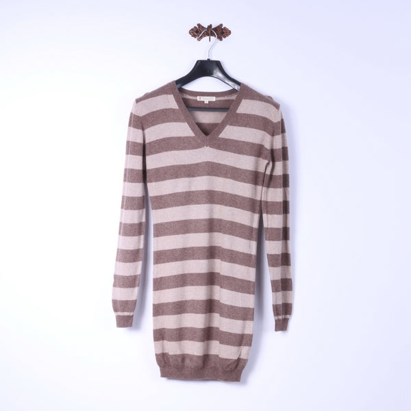 Duca Di Valtorta Womens M (S) Long Jumper Beige Striped 100% Cashmere Soft Sweater