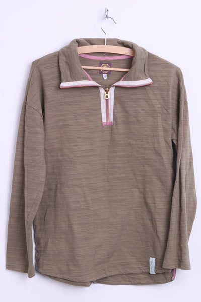 Tom Joule Womens XS 8 Jumper Antler Cotton Zip Neck - RetrospectClothes