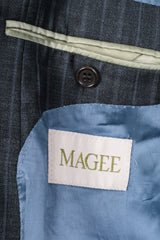 Magee Mens 42 S Blazer Top Suit Striped Grey Wool Single Breasted - RetrospectClothes