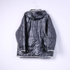 Colours Of The World Womens 38/40 M Jacket Black Shiny Overhead Kangaro Pocket Silver Jungle Mode