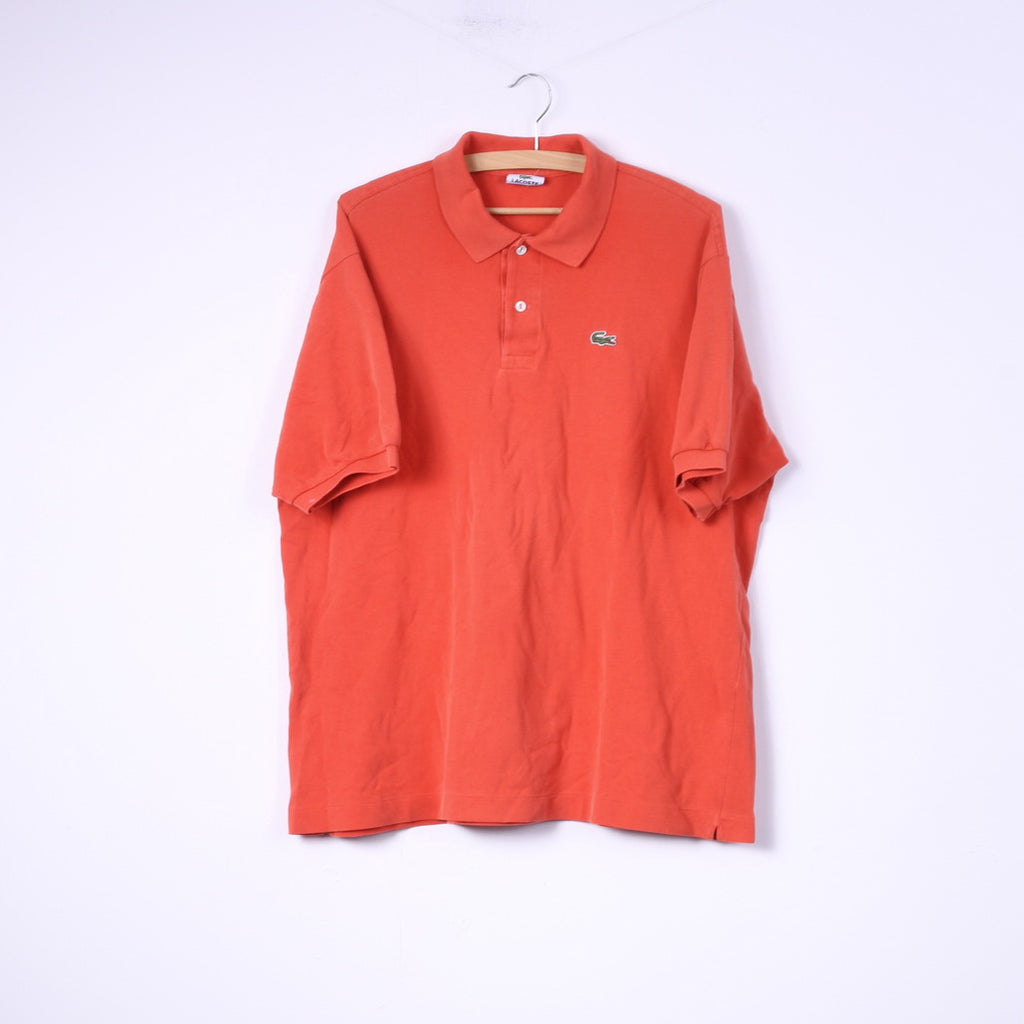 Lacoste Mens 7 2XL Polo Shirt Orange Cotton Detailed Buttons Plain Top