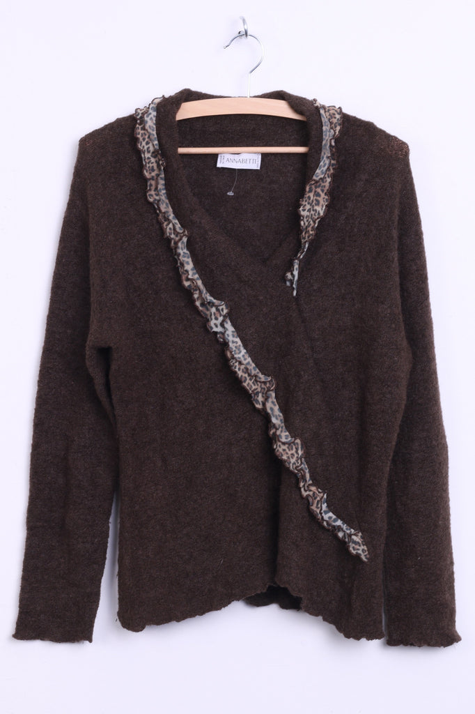 Anna Betti Womens L Jumper Sweater V Neck Brown Mohair Italy - RetrospectClothes