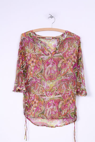 More& More Womens 34 XS Blouse Transparent Long Sleeve Multi Print V Neck Mulicolor