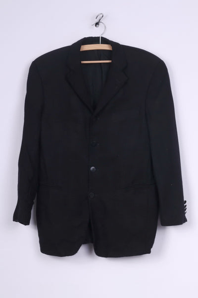 Pierre Balmain Mens S Blazer Black Detailed Buttons Single Breasted Jacket