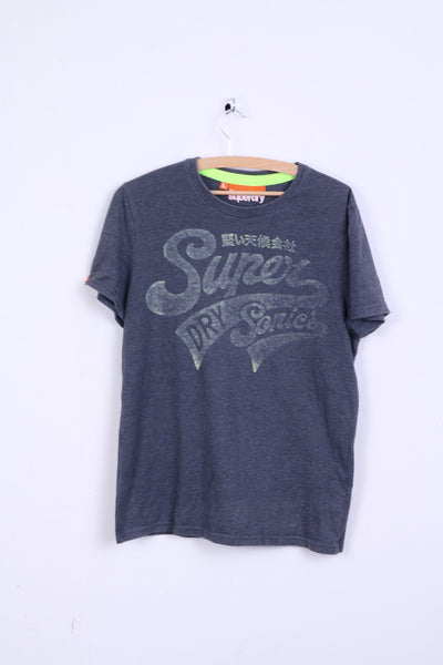 Superdry Mens L T-Shirt Grey Cotton Crew Neck
