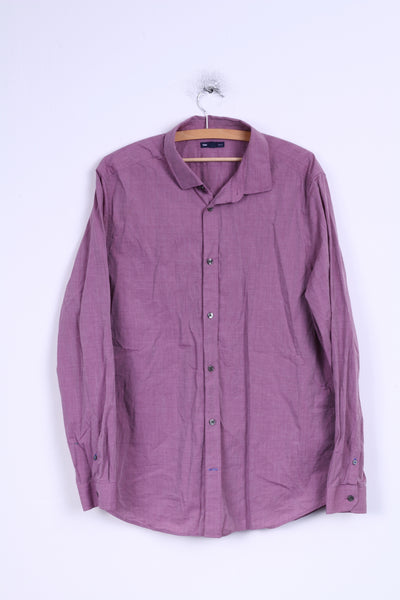 Gap Mens XL Casual Shirt Cotton Violet Slim Fit Long Sleeve