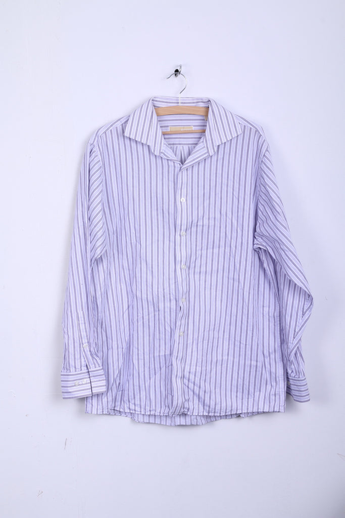 Michael Kors Mens 16.5 34/36 XL Casual Shirt Striped Cotton White Long Sleeve