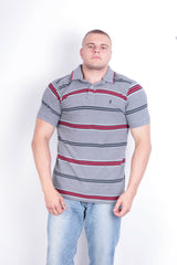 St George  Mens XL Polo Shirt Grey Striped Short Sleeve Cotton Summer - RetrospectClothes