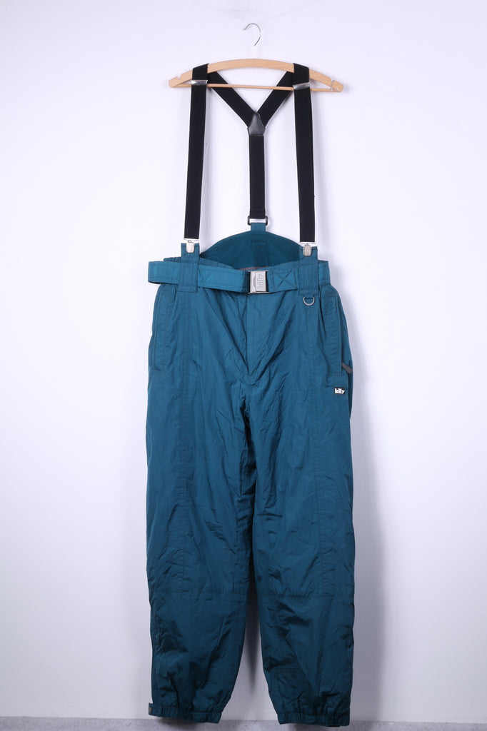 Killy Womens 40 Ski Trousers Green Bibs Nylon Waterproof Snowboarding Pants