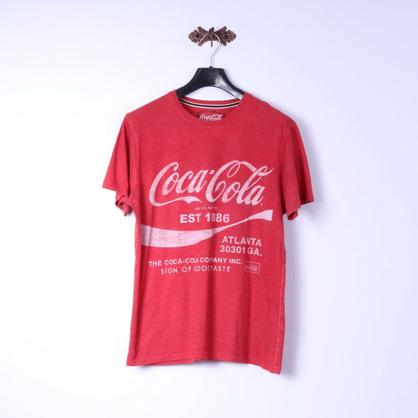 Coca Cola Mens M T-Shirt Red Cotton Logo Graphic Classic Tee