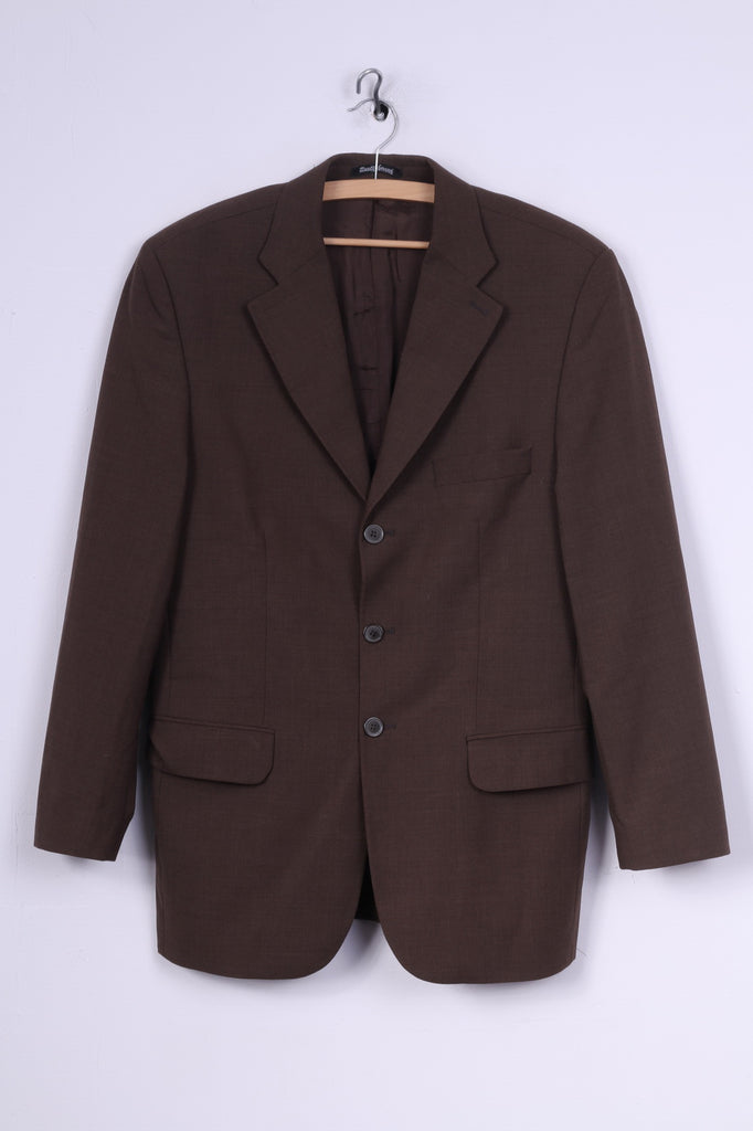 Berto Lucci Milano Mens 48 M Blazer Jacket Single Breasted Shoulder Pads Brown