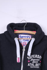 Superdry Womens M Sweatshirt Full Zipper Navy Top Track&Field Cotton Hooded