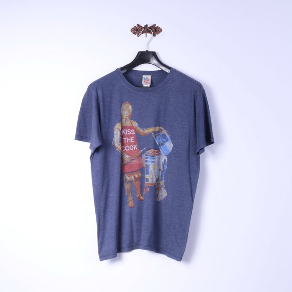 Junk Food Mens L T-Shirt Blue Cotton Graphic Kiss The Cook Classic Tee Top