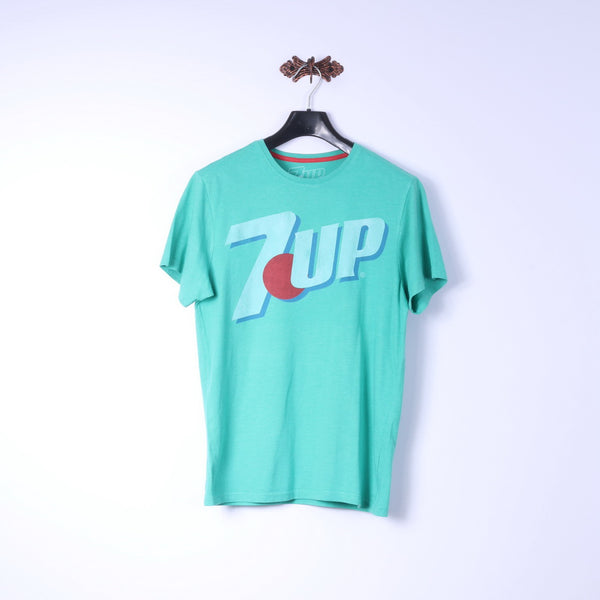 7 UP Mens S T-Shirt Green Cotton Crew Neck Graphic Logo Basic Tee