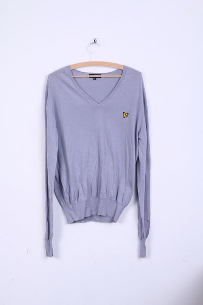 Lyle&Scott Mens XL Jumper Gray Sweater V Neck Cotton